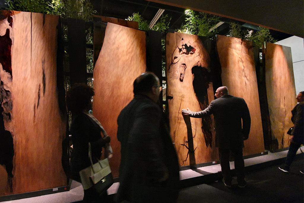 Riesige Bretter von Baumstämmen als Wanddekoration auf der Möbelmesse in Köln